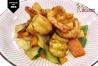 gambas salteadas, sin salsa, con curry y 5 especias