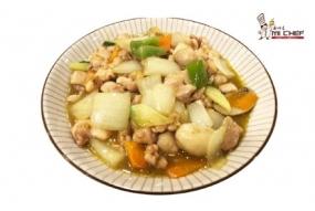Pollo con salsa curry